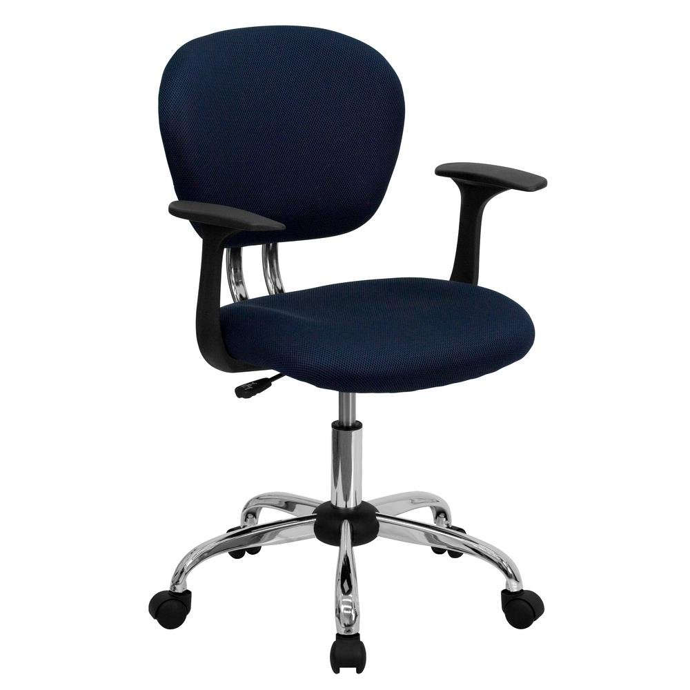 Mid-Back Navy Mesh Padded Swivel Task Office Chair with Chrome Base and Arms. Picture 1