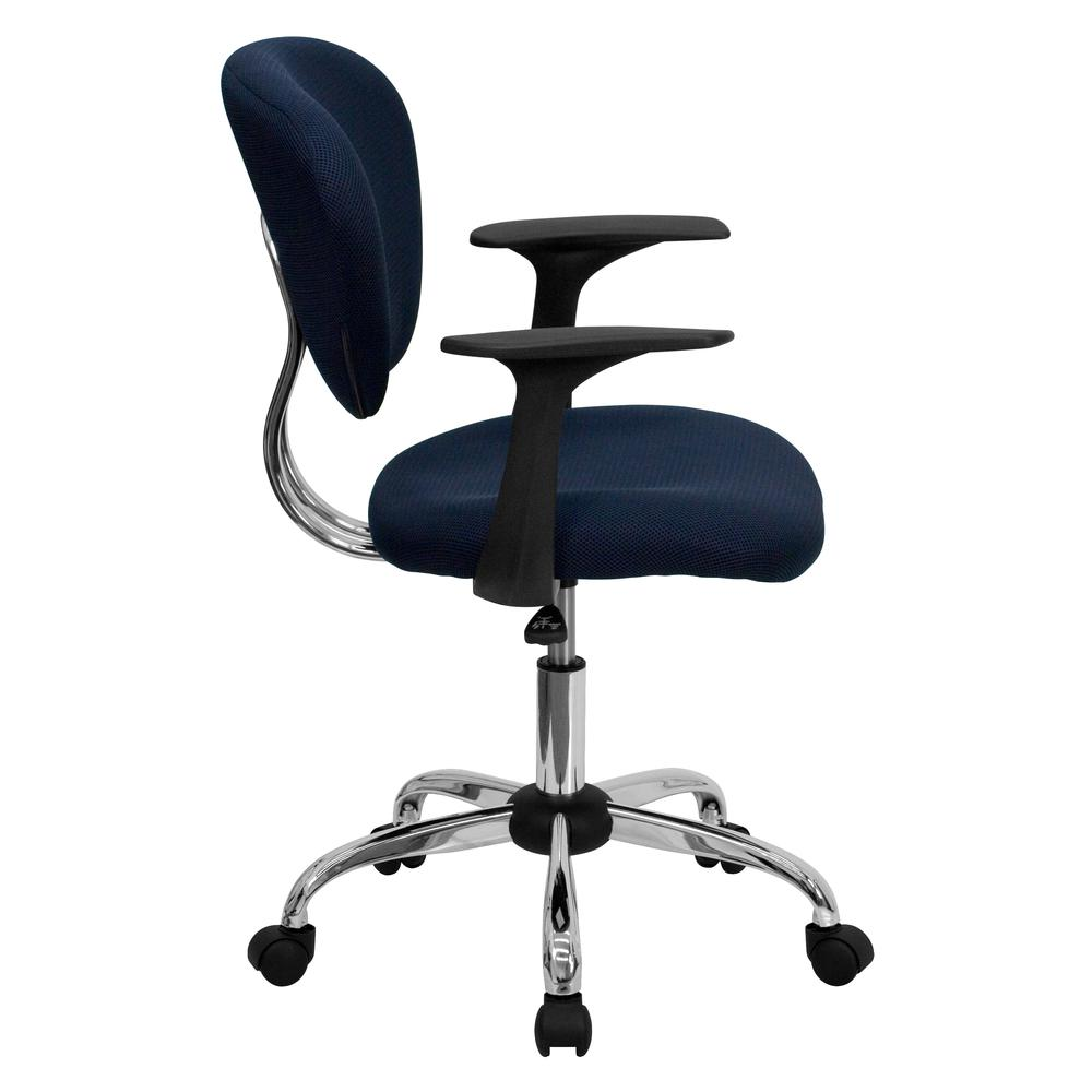 Mid-Back Navy Mesh Padded Swivel Task Office Chair with Chrome Base and Arms. Picture 2