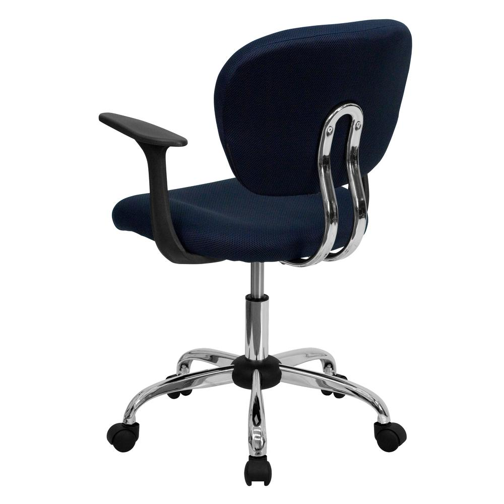 Mid-Back Navy Mesh Padded Swivel Task Office Chair with Chrome Base and Arms. Picture 3