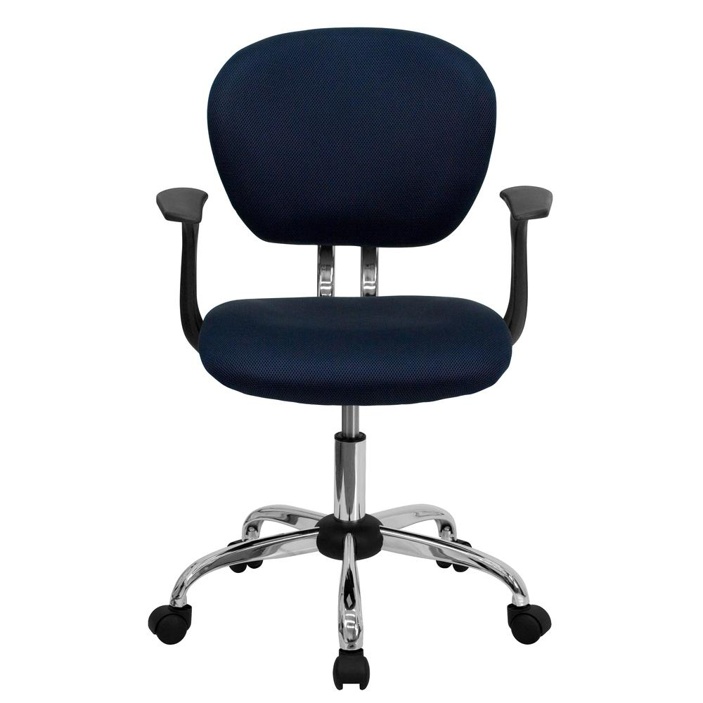 Mid-Back Navy Mesh Padded Swivel Task Office Chair with Chrome Base and Arms. Picture 4