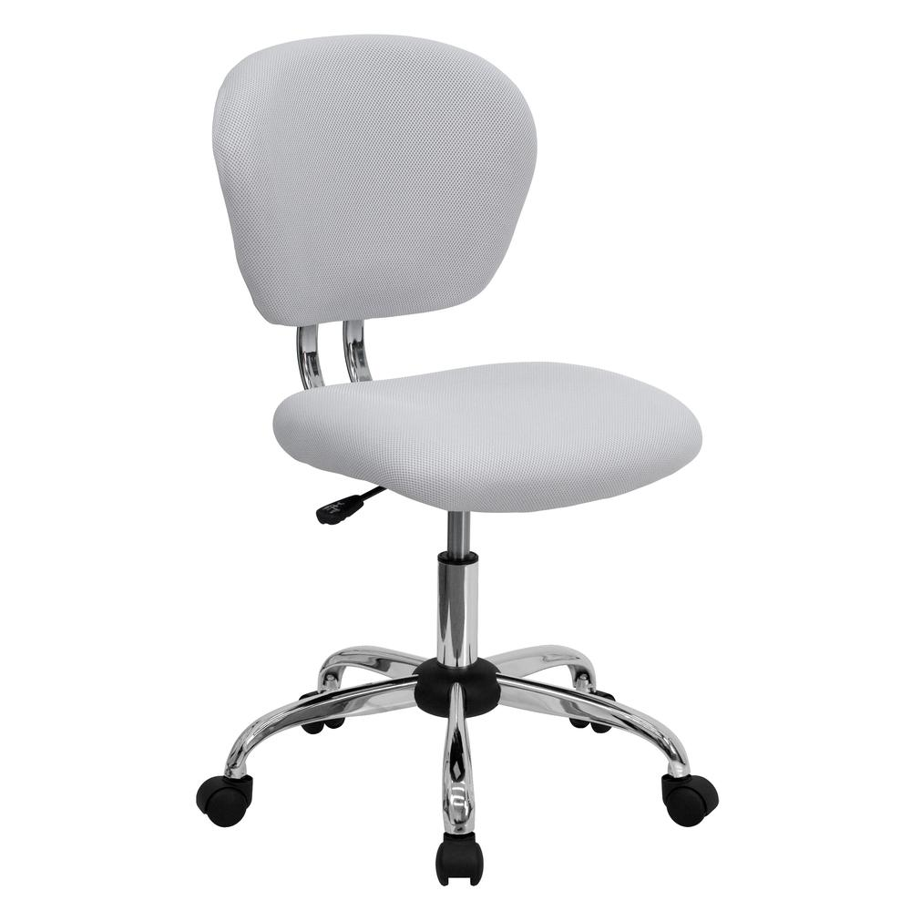 Mid-Back White Mesh Padded Swivel Task Office Chair with Chrome Base. Picture 1