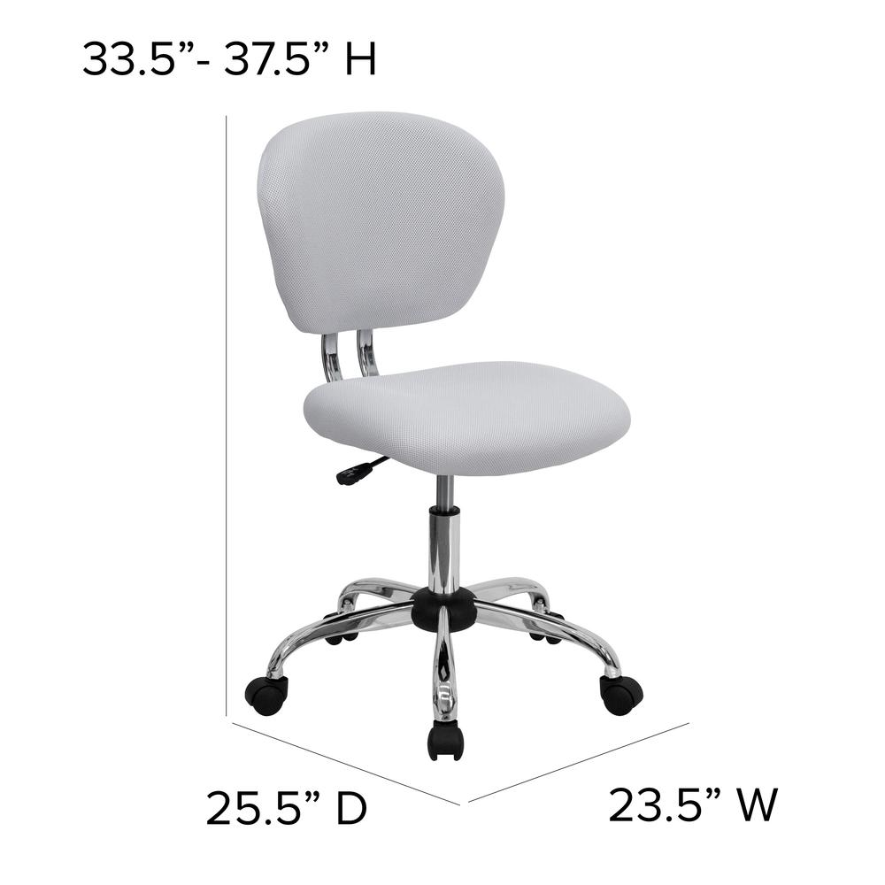 Mid-Back White Mesh Padded Swivel Task Office Chair with Chrome Base. Picture 2