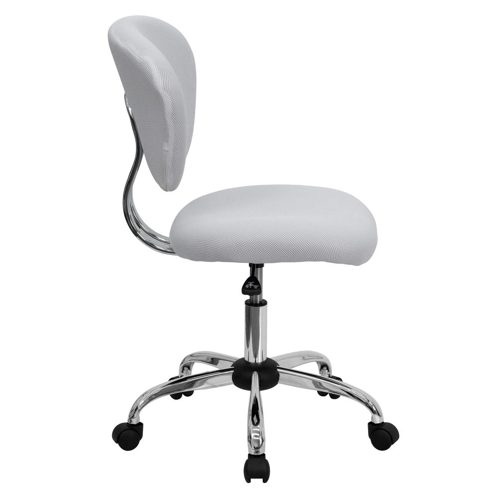 Mid-Back White Mesh Padded Swivel Task Office Chair with Chrome Base. Picture 3