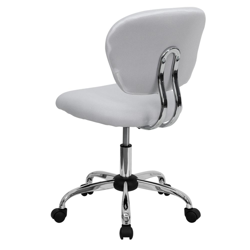 Mid-Back White Mesh Padded Swivel Task Office Chair with Chrome Base. Picture 4