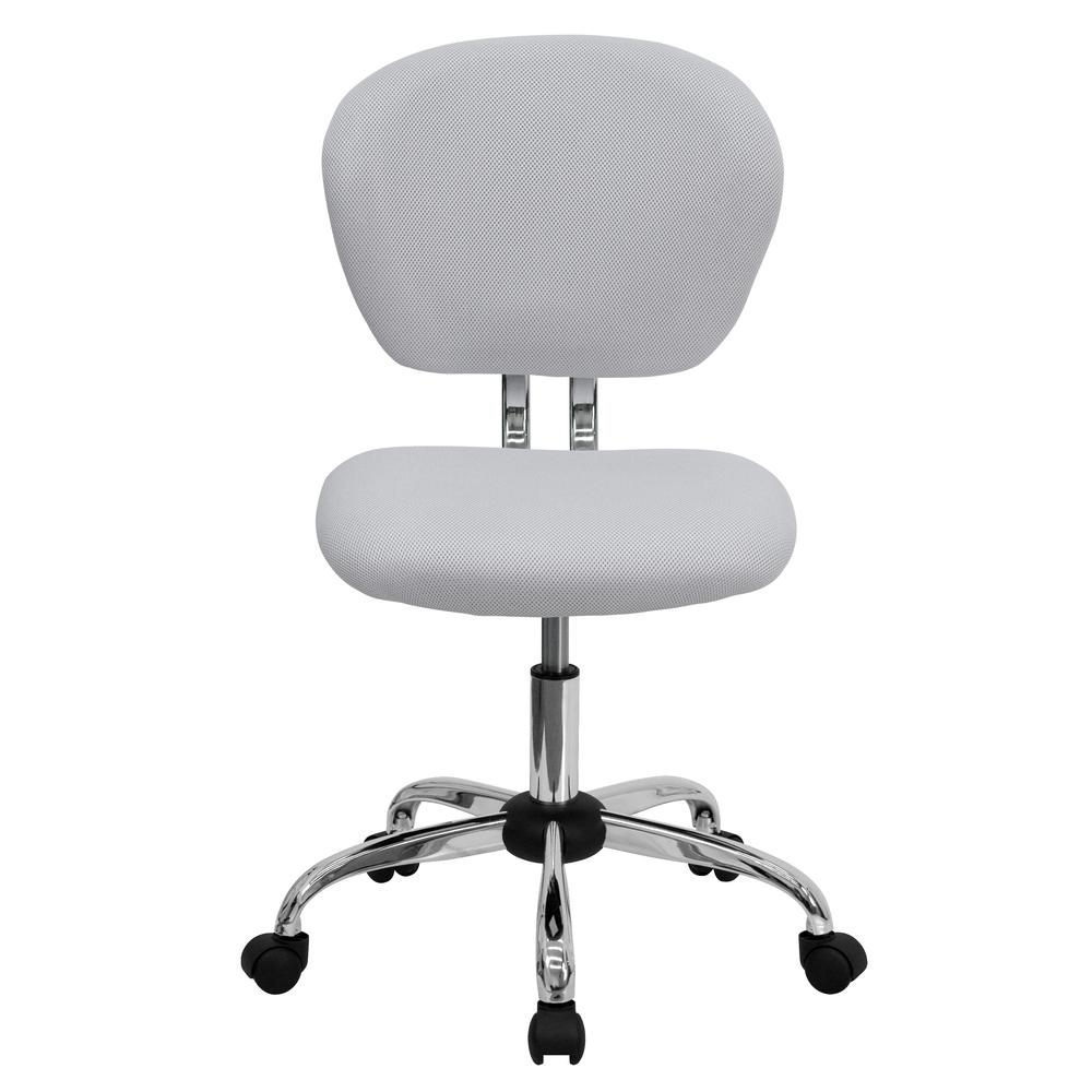 Mid-Back White Mesh Padded Swivel Task Office Chair with Chrome Base. Picture 5