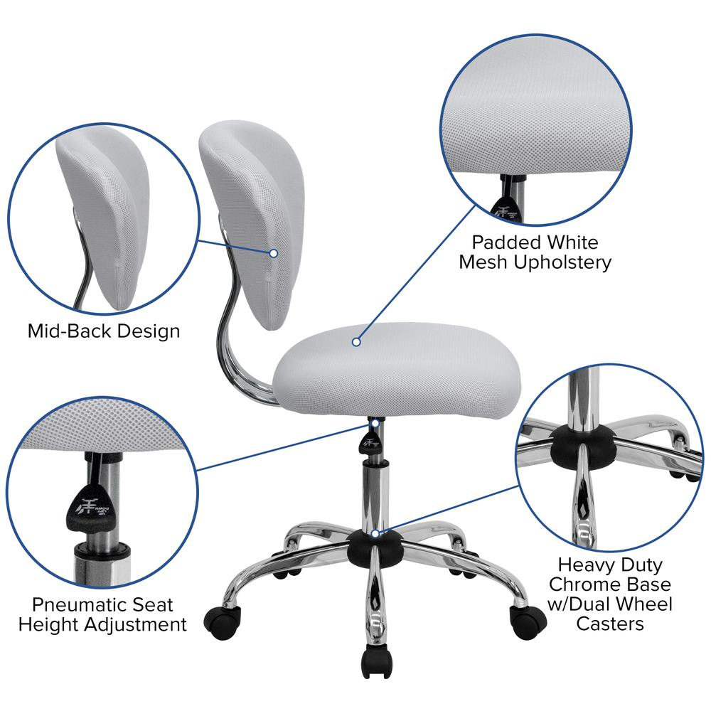 Mid-Back White Mesh Padded Swivel Task Office Chair with Chrome Base. Picture 6