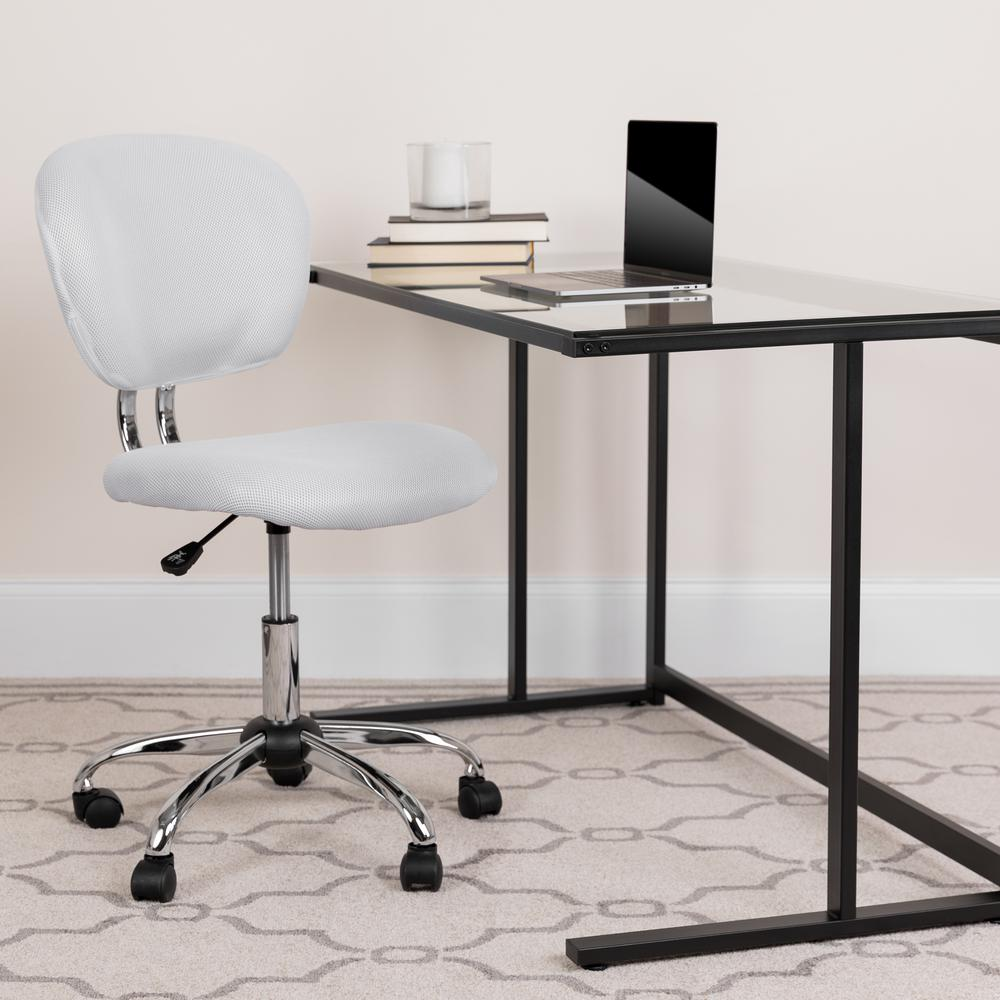 Mid-Back White Mesh Padded Swivel Task Office Chair with Chrome Base. Picture 9