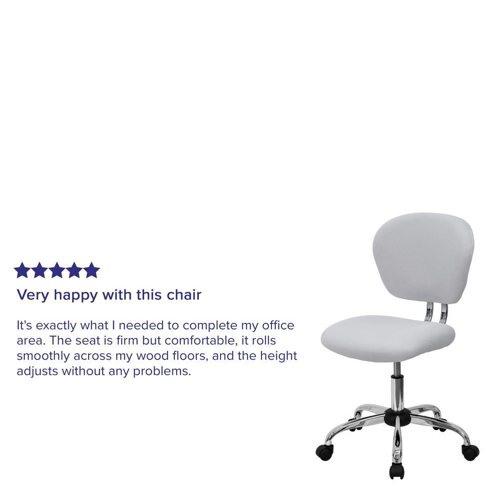 Mid-Back White Mesh Padded Swivel Task Office Chair with Chrome Base. Picture 10