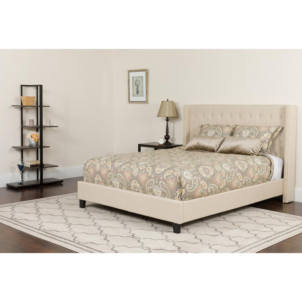 Full Size Tufted Upholstered Platform Bed with Accent Nail Trimmed Extended Sides in Beige Fabric with Mattress. Picture 4