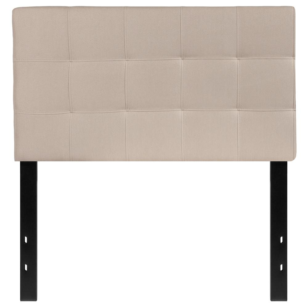 Quilted Tufted Upholstered Twin Size Headboard in Beige Fabric. Picture 1