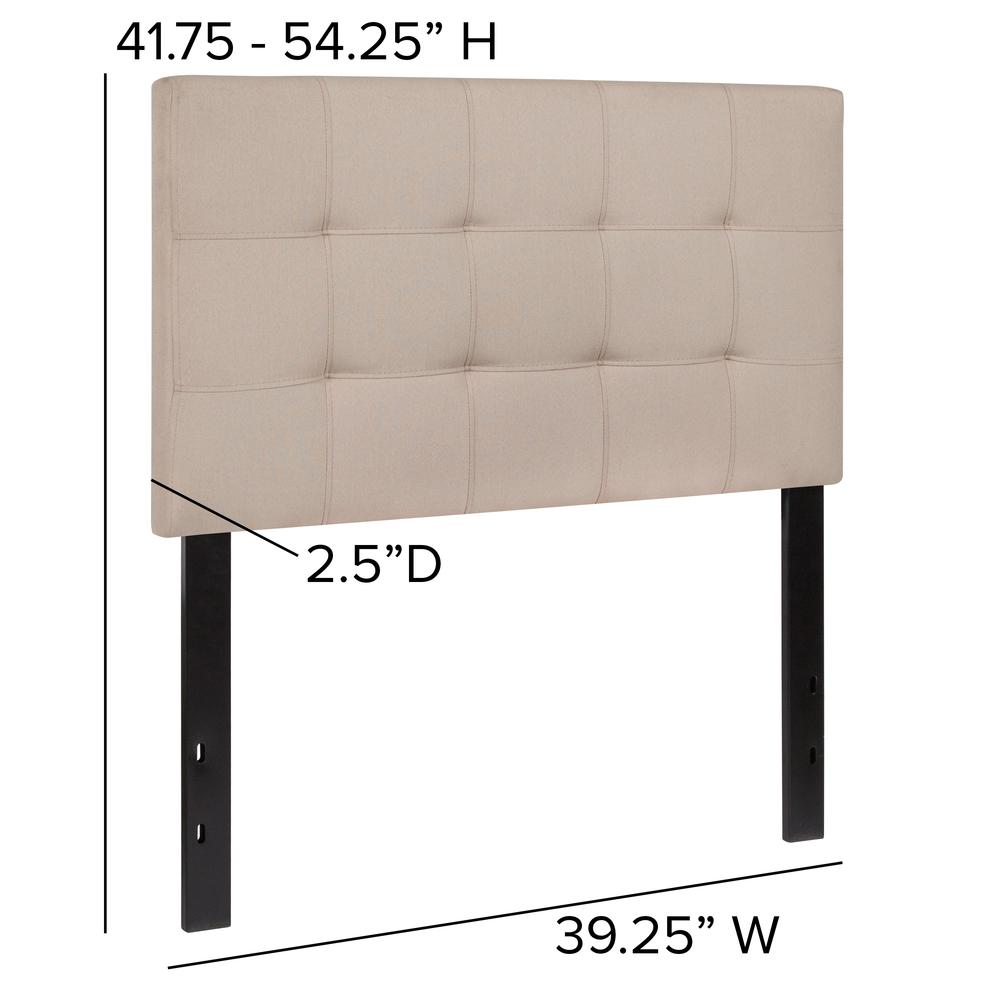 Quilted Tufted Upholstered Twin Size Headboard in Beige Fabric. Picture 2