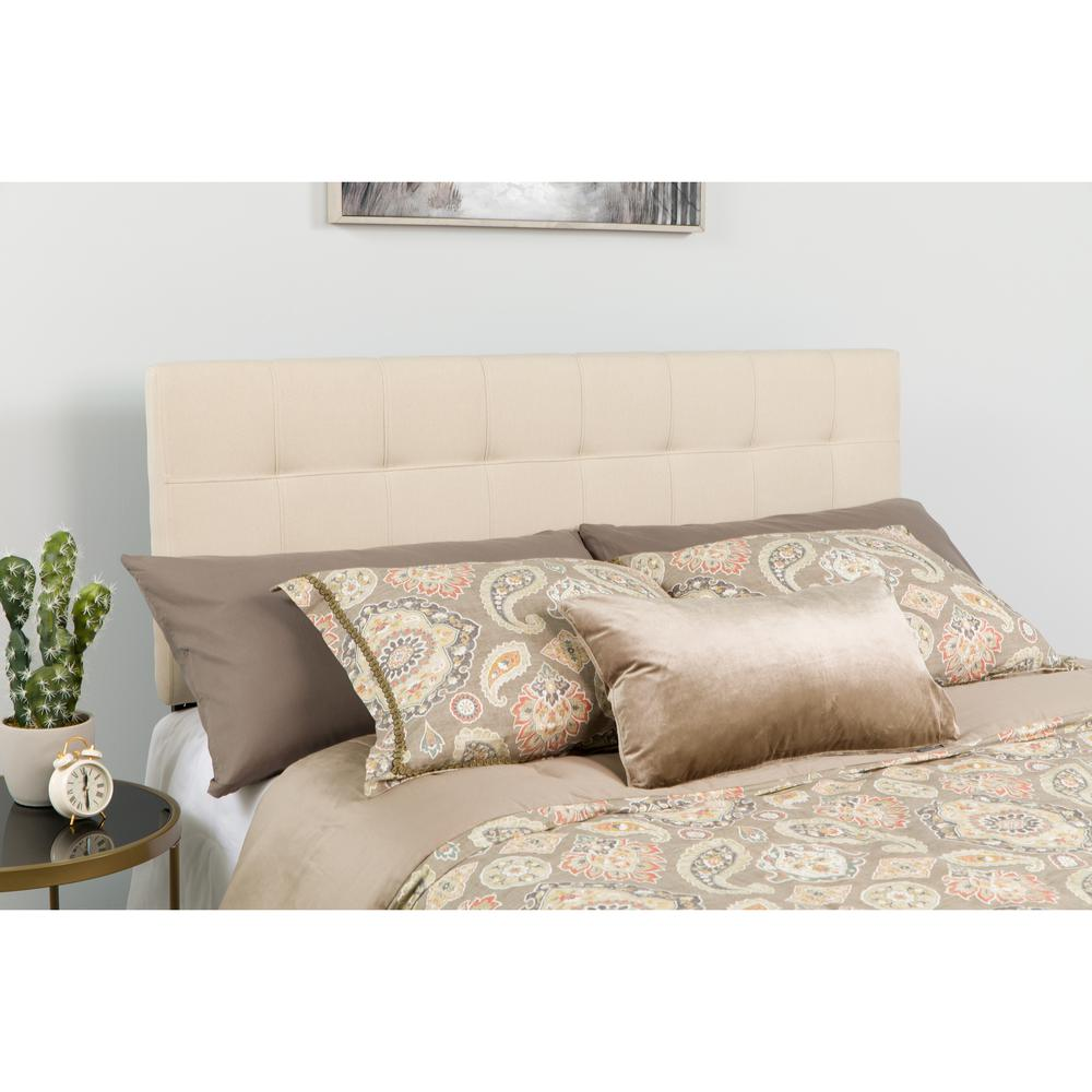 Quilted Tufted Upholstered Twin Size Headboard in Beige Fabric. Picture 4
