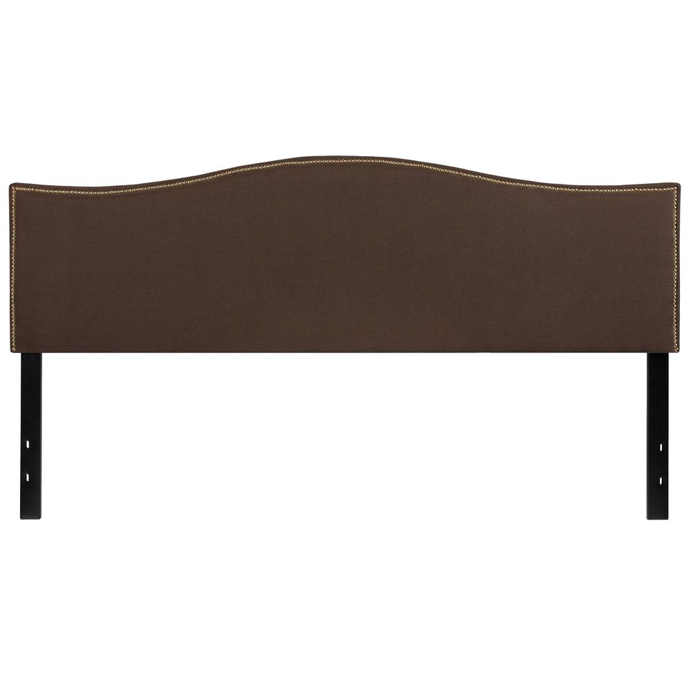 Upholstered King Size Arched Headboard with Accent Nail Trim in Dark Brown Fabric. Picture 1