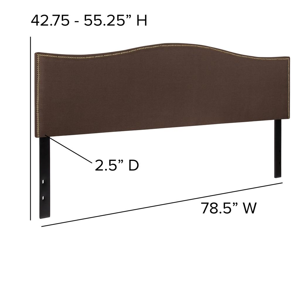 Upholstered King Size Arched Headboard with Accent Nail Trim in Dark Brown Fabric. Picture 2