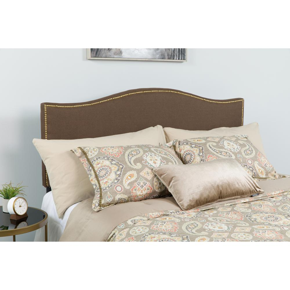 Upholstered King Size Arched Headboard with Accent Nail Trim in Dark Brown Fabric. Picture 3