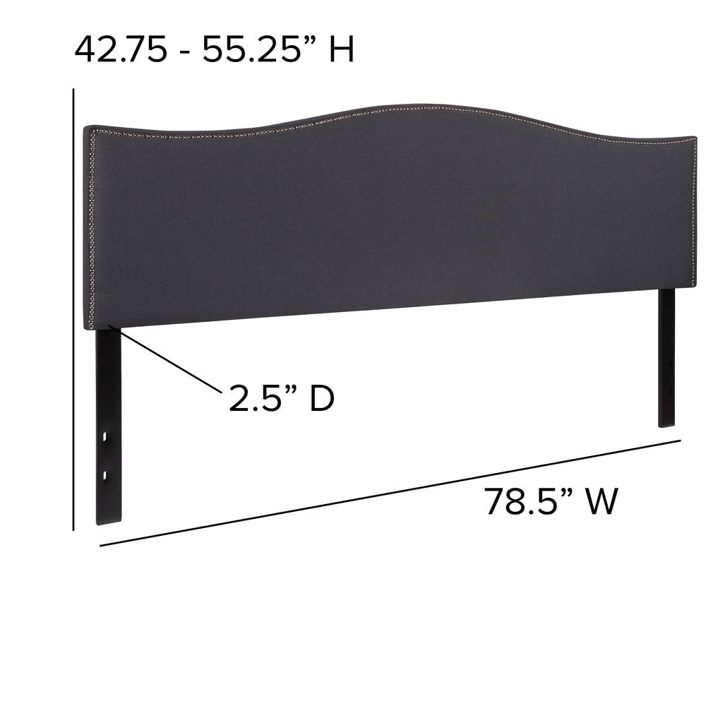 Upholstered King Size Arched Headboard with Accent Nail Trim in Dark Gray Fabric. Picture 2