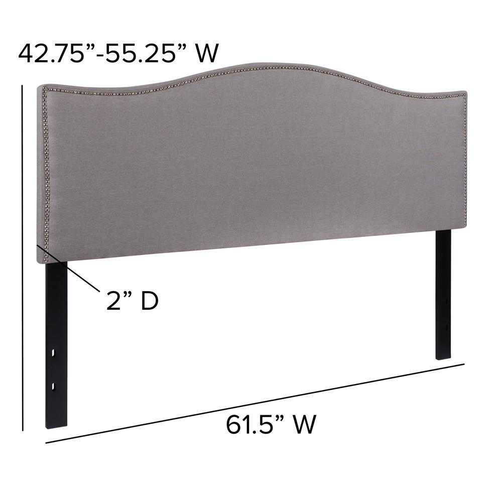 Upholstered Queen Size Arched Headboard with Accent Nail Trim in Light Gray Fabric. Picture 2