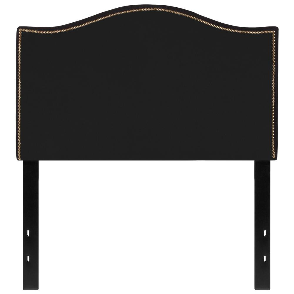 Upholstered Twin Size Arched Headboard with Accent Nail Trim in Black Fabric. Picture 1
