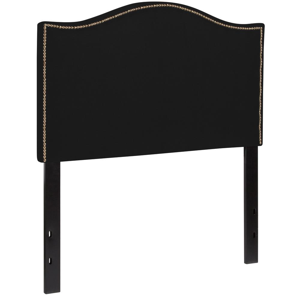 Upholstered Twin Size Arched Headboard with Accent Nail Trim in Black Fabric. Picture 3