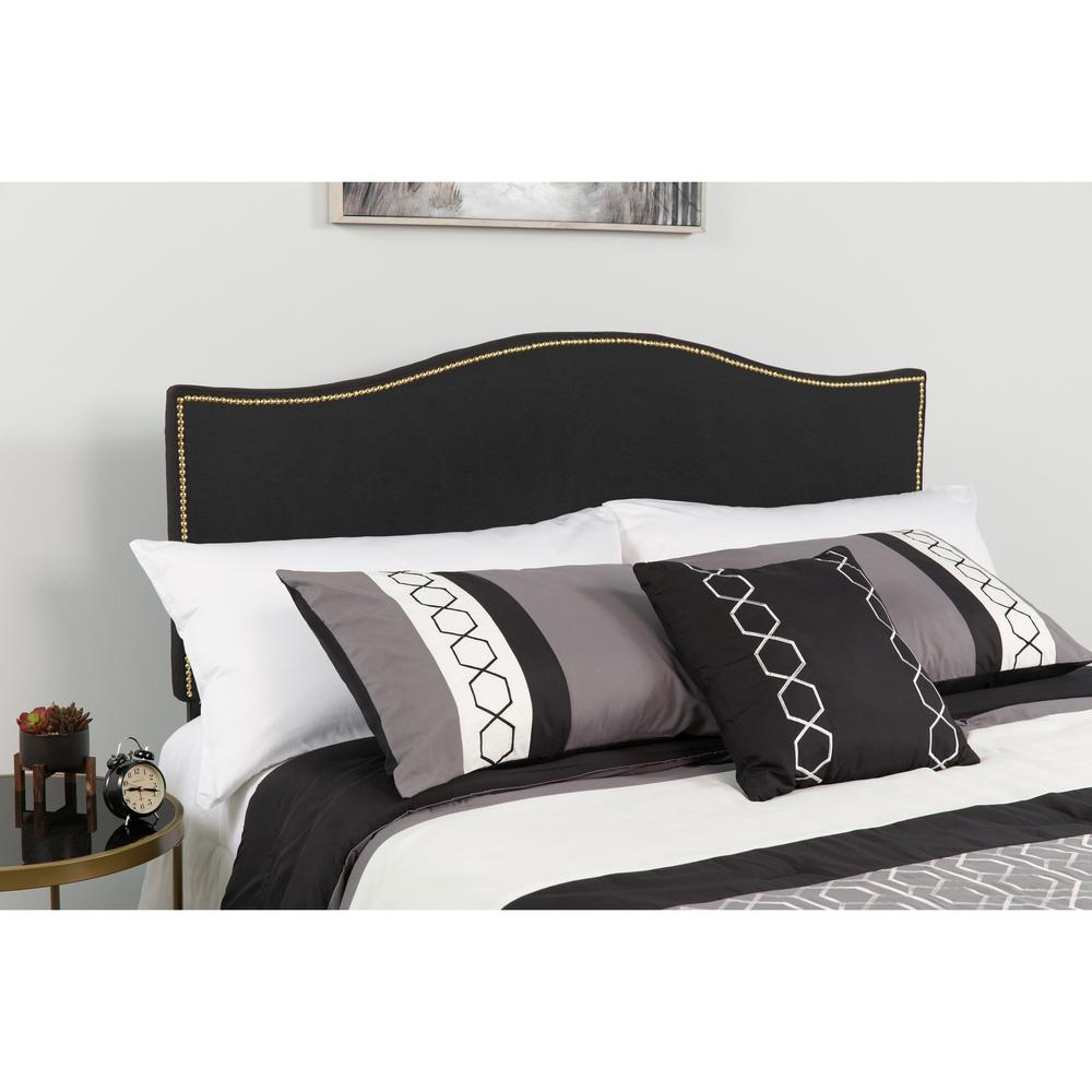 Upholstered Twin Size Arched Headboard with Accent Nail Trim in Black Fabric. Picture 4