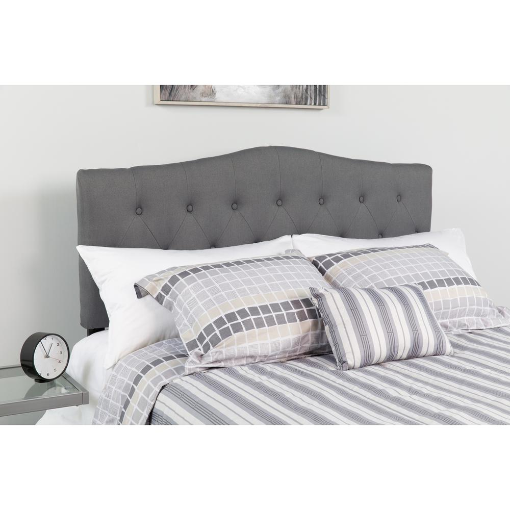 cambridge tufted upholstered full size headboard in dark gray fabric. Black Bedroom Furniture Sets. Home Design Ideas