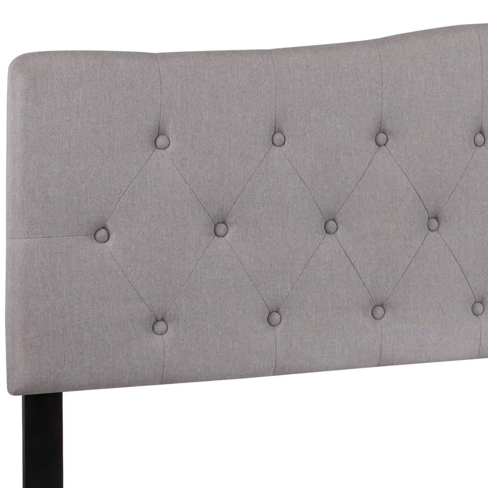 Arched Button Tufted Upholstered King Size Headboard in Light Gray Fabric. Picture 4