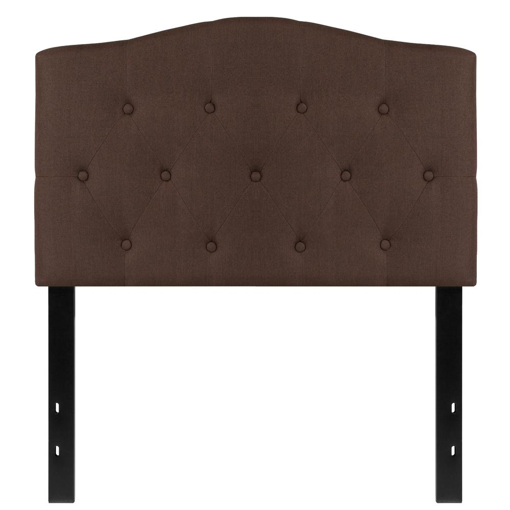 Arched Button Tufted Upholstered Twin Size Headboard in Dark Brown Fabric. Picture 1