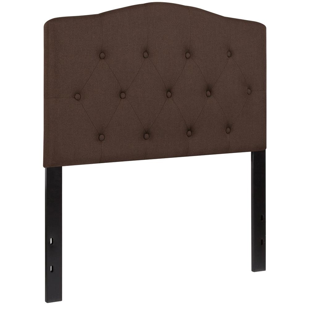 Arched Button Tufted Upholstered Twin Size Headboard in Dark Brown Fabric. Picture 3