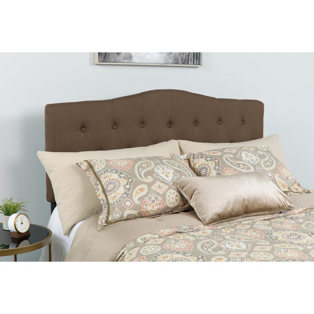 Arched Button Tufted Upholstered Twin Size Headboard in Dark Brown Fabric. Picture 4