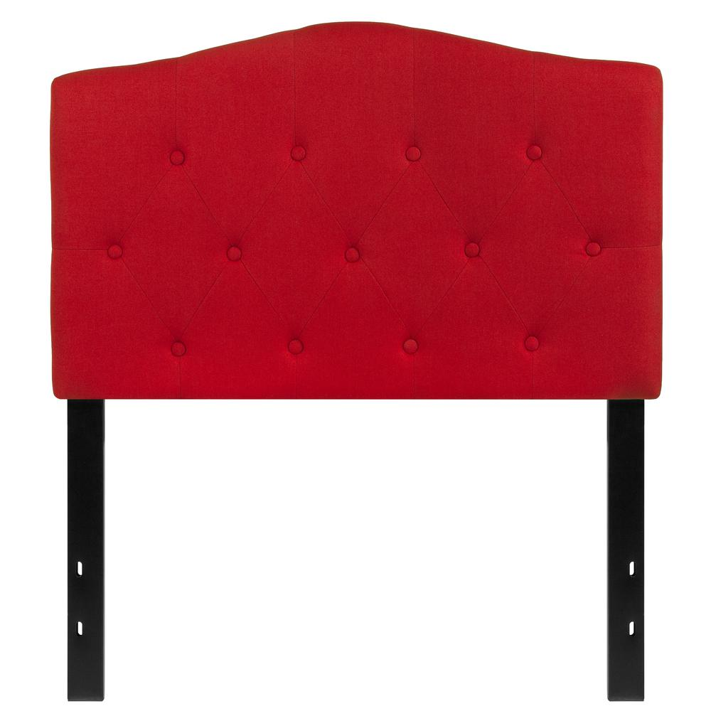 Arched Button Tufted Upholstered Twin Size Headboard in Red Fabric. Picture 1