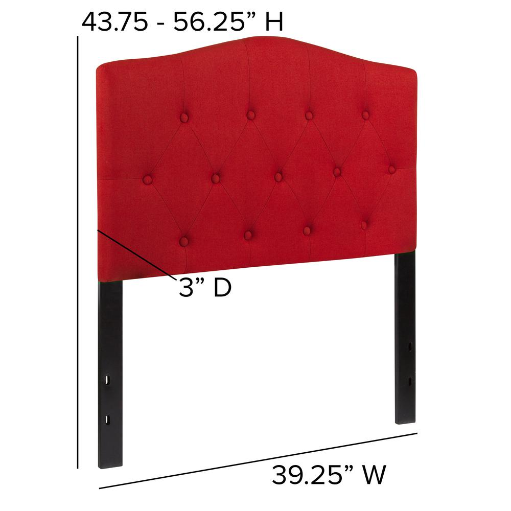 Arched Button Tufted Upholstered Twin Size Headboard in Red Fabric. Picture 2