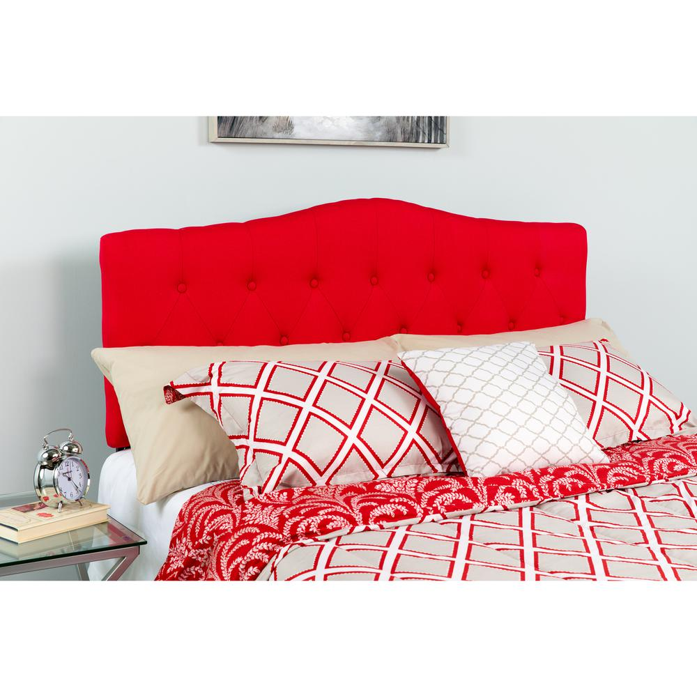 Arched Button Tufted Upholstered Twin Size Headboard in Red Fabric. Picture 4