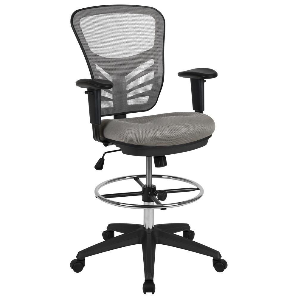 Mid-Back Light Gray Mesh Ergonomic Drafting Chair with Adjustable Chrome Foot Ring, Adjustable Arms and Black Frame. Picture 1
