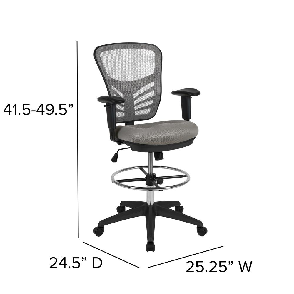 Mid-Back Light Gray Mesh Ergonomic Drafting Chair with Adjustable Chrome Foot Ring, Adjustable Arms and Black Frame. Picture 2