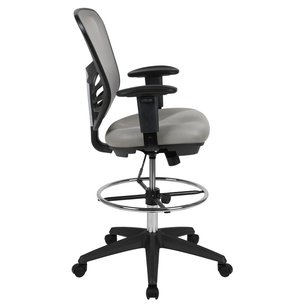 Mid-Back Light Gray Mesh Ergonomic Drafting Chair with Adjustable Chrome Foot Ring, Adjustable Arms and Black Frame. Picture 3