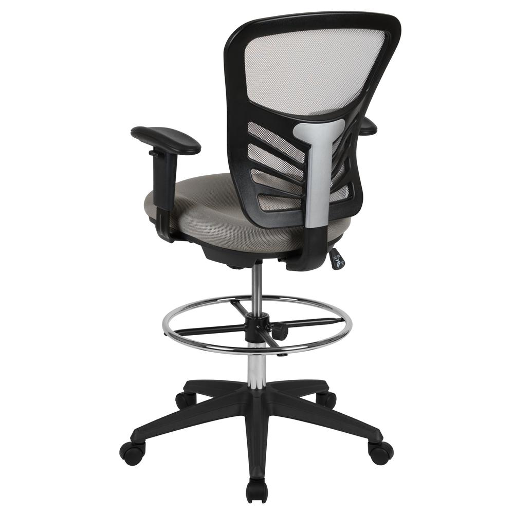 Mid-Back Light Gray Mesh Ergonomic Drafting Chair with Adjustable Chrome Foot Ring, Adjustable Arms and Black Frame. Picture 4