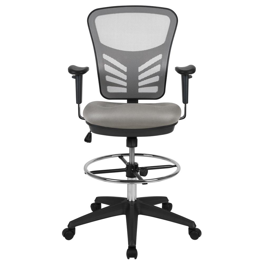 Mid-Back Light Gray Mesh Ergonomic Drafting Chair with Adjustable Chrome Foot Ring, Adjustable Arms and Black Frame. Picture 5