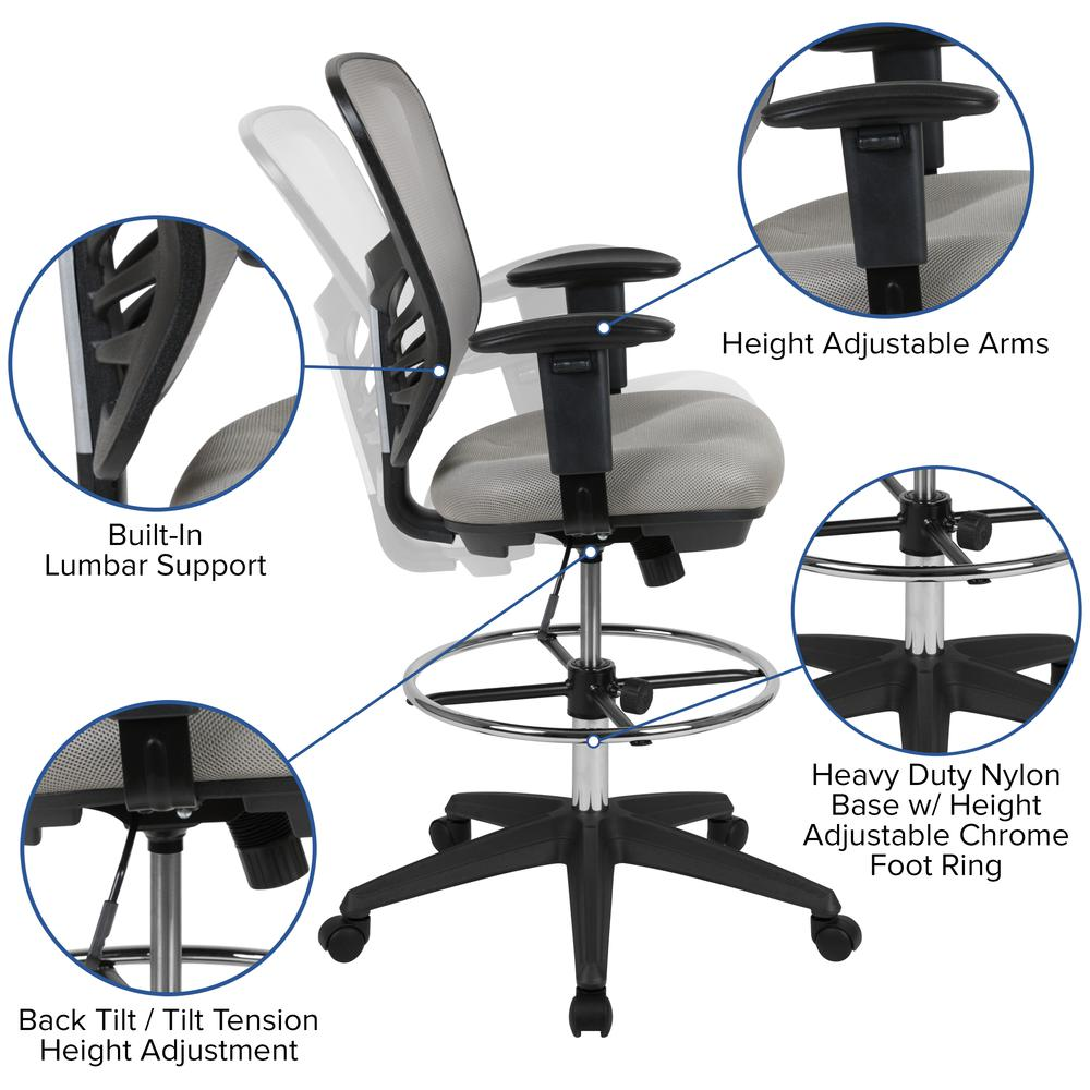Mid-Back Light Gray Mesh Ergonomic Drafting Chair with Adjustable Chrome Foot Ring, Adjustable Arms and Black Frame. Picture 6
