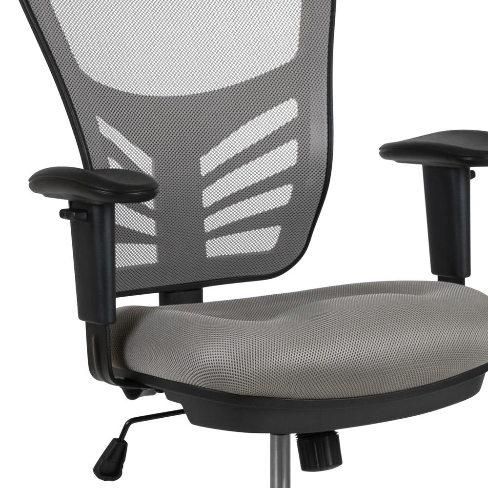 Mid-Back Light Gray Mesh Ergonomic Drafting Chair with Adjustable Chrome Foot Ring, Adjustable Arms and Black Frame. Picture 7