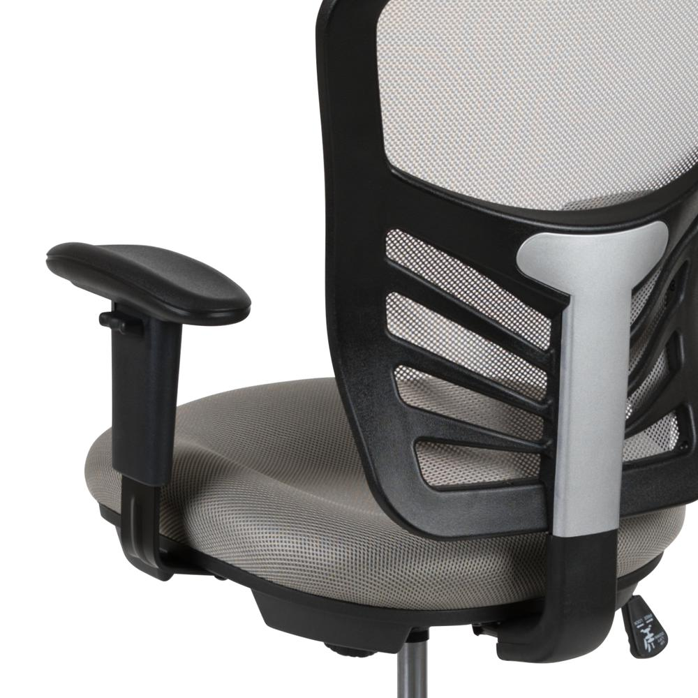 Mid-Back Light Gray Mesh Ergonomic Drafting Chair with Adjustable Chrome Foot Ring, Adjustable Arms and Black Frame. Picture 8