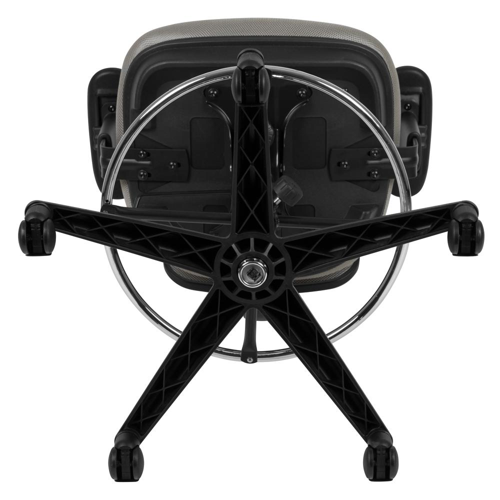 Mid-Back Light Gray Mesh Ergonomic Drafting Chair with Adjustable Chrome Foot Ring, Adjustable Arms and Black Frame. Picture 10