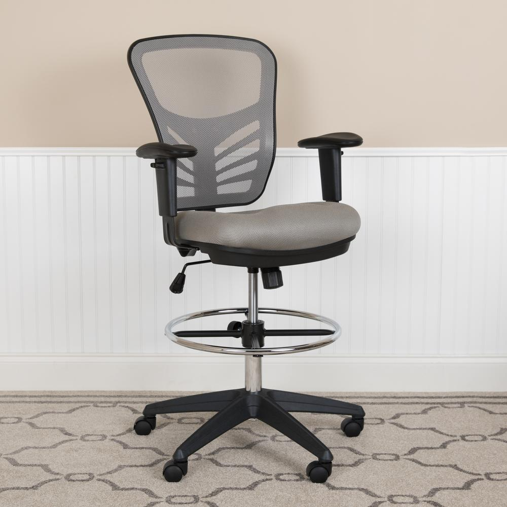 Mid-Back Light Gray Mesh Ergonomic Drafting Chair with Adjustable Chrome Foot Ring, Adjustable Arms and Black Frame. Picture 11