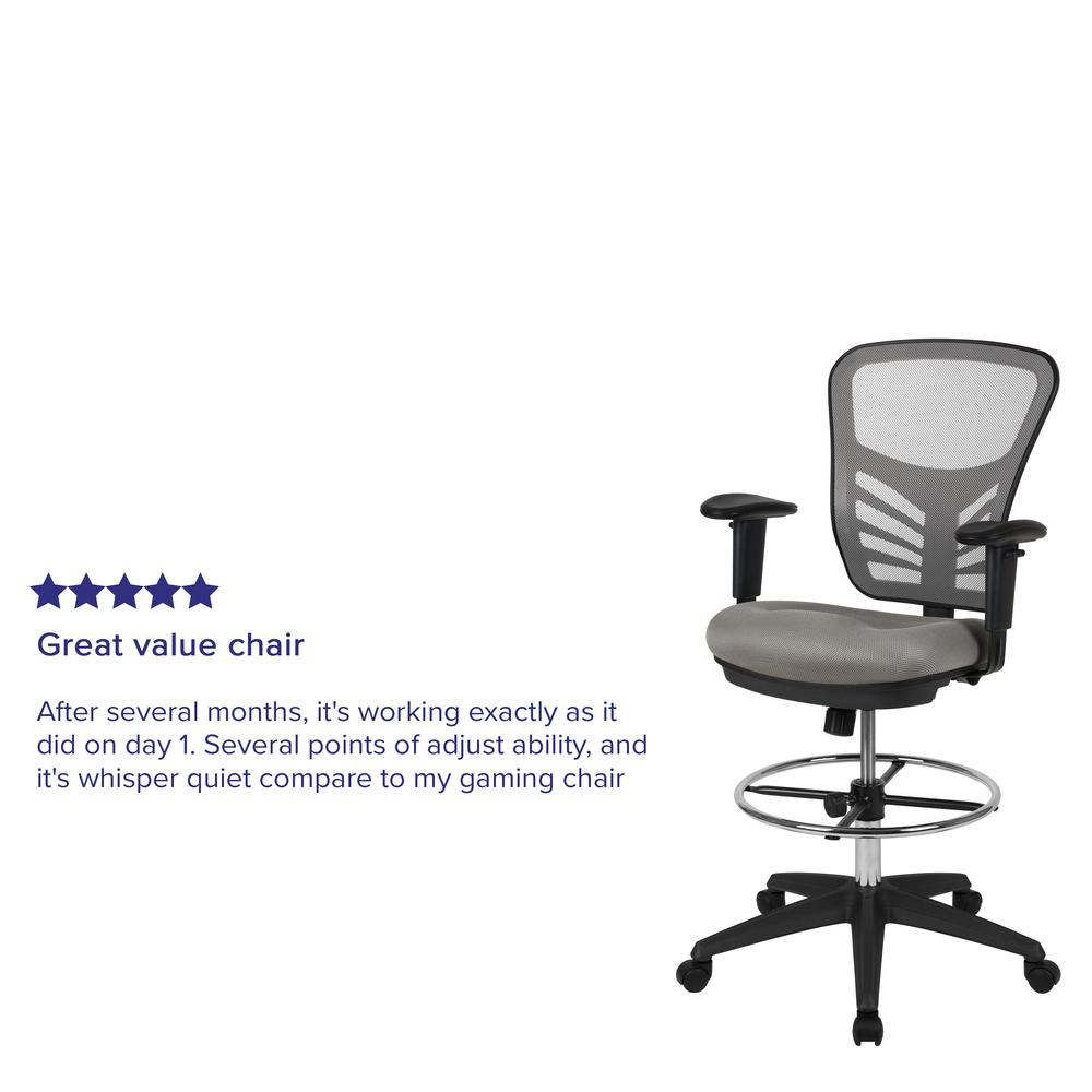 Mid-Back Light Gray Mesh Ergonomic Drafting Chair with Adjustable Chrome Foot Ring, Adjustable Arms and Black Frame. Picture 12