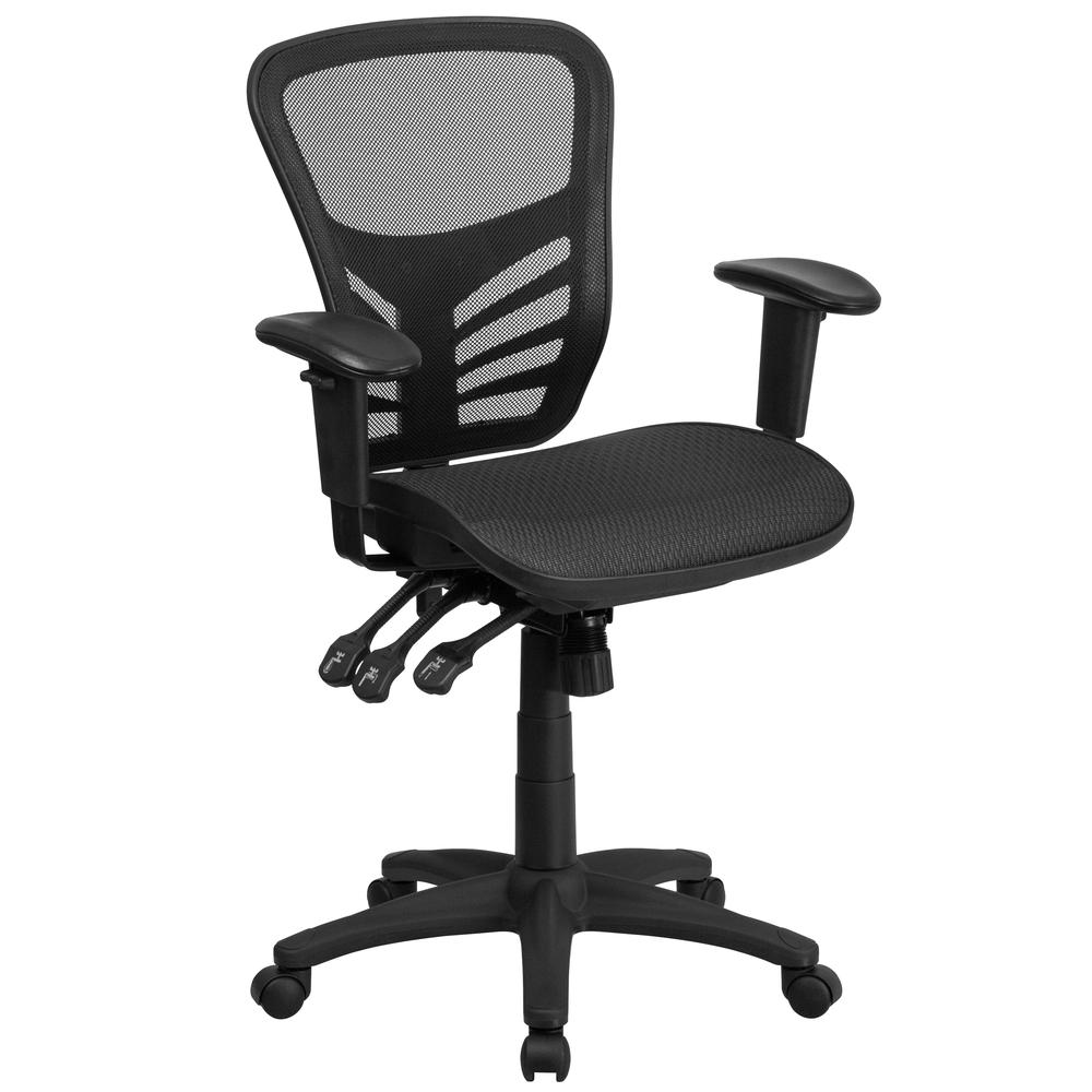 Mid-Back Transparent Black Mesh Multifunction Executive Swivel Ergonomic Office Chair with Adjustable Arms. Picture 1