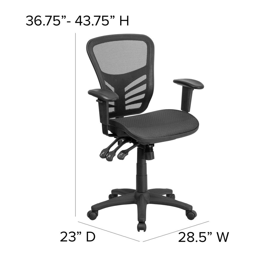 Mid-Back Transparent Black Mesh Multifunction Executive Swivel Ergonomic Office Chair with Adjustable Arms. Picture 2