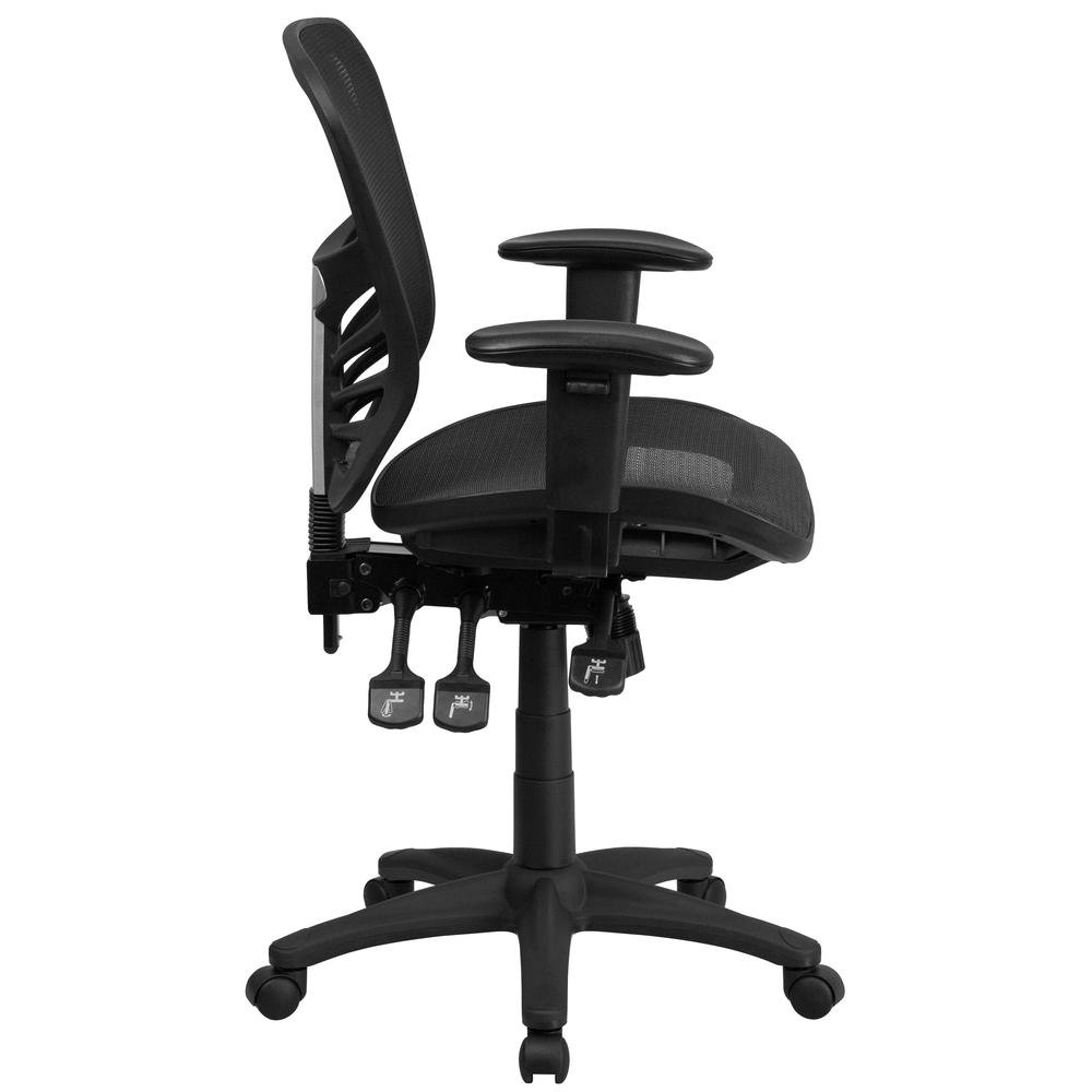 Mid-Back Transparent Black Mesh Multifunction Executive Swivel Ergonomic Office Chair with Adjustable Arms. Picture 3