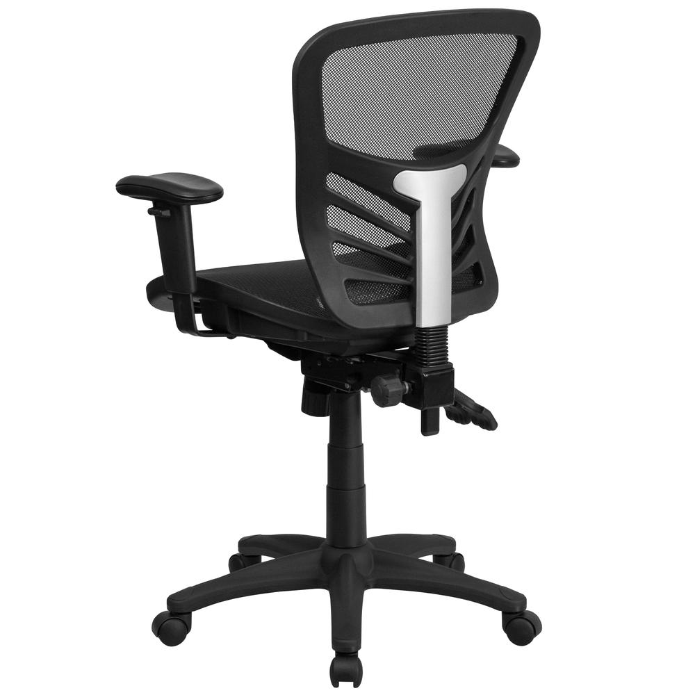 Mid-Back Transparent Black Mesh Multifunction Executive Swivel Ergonomic Office Chair with Adjustable Arms. Picture 4