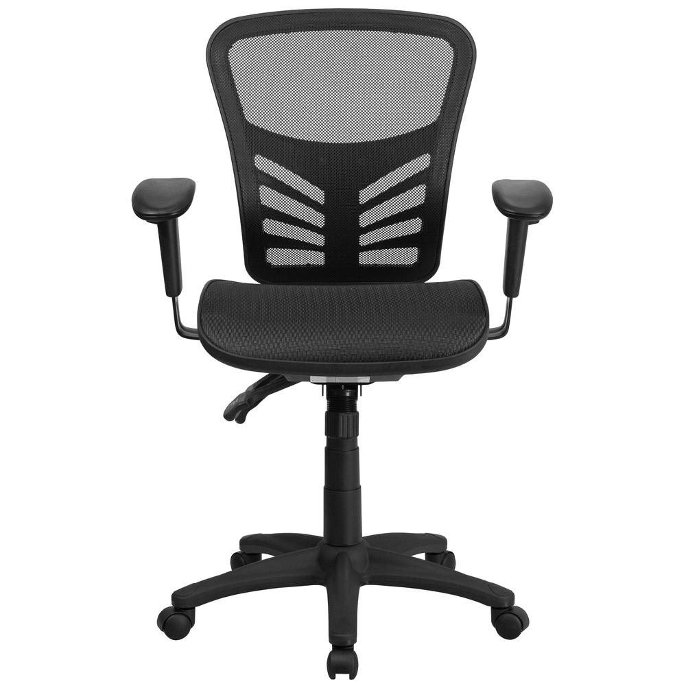 Mid-Back Transparent Black Mesh Multifunction Executive Swivel Ergonomic Office Chair with Adjustable Arms. Picture 5