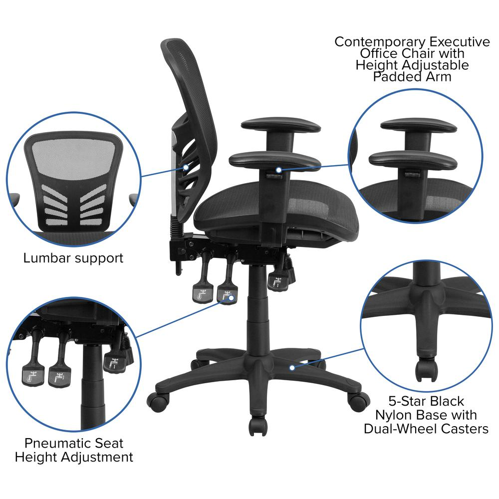 Mid-Back Transparent Black Mesh Multifunction Executive Swivel Ergonomic Office Chair with Adjustable Arms. Picture 6