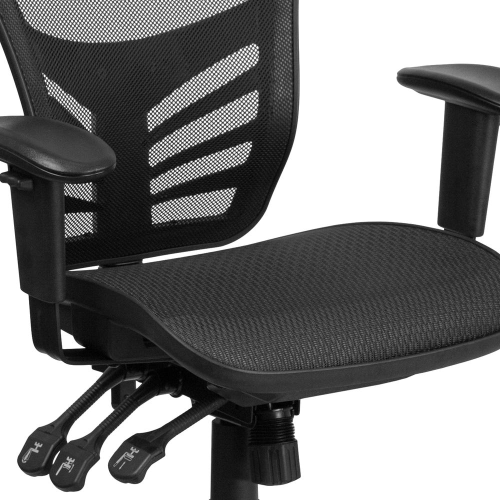 Mid-Back Transparent Black Mesh Multifunction Executive Swivel Ergonomic Office Chair with Adjustable Arms. Picture 7